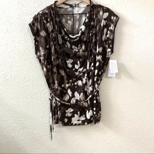 Chaus Brown Patterned Top, Size Small